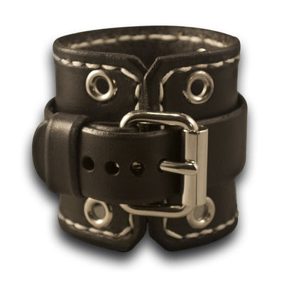Black Rockstar Leather Cuff Watch Band w/ Stitching & Eyelets-Custom Handmade Leather Watch Bands-Rockstar Leatherworks™