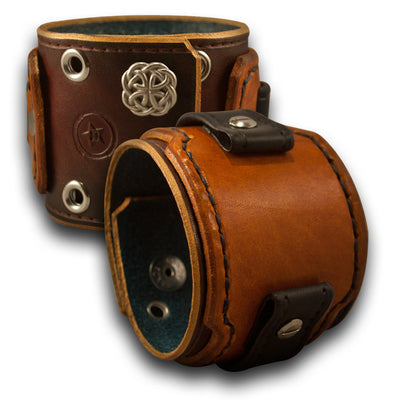 Bordeaux & Tan Drake Leather Cuff Watch Band w/ Celtic Snaps-Custom Handmade Leather Watch Bands-Rockstar Leatherworks™