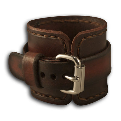 Bordeaux Stressed Leather Cuff Watch Band with Stitching-Custom Handmade Leather Watch Bands-Rockstar Leatherworks™