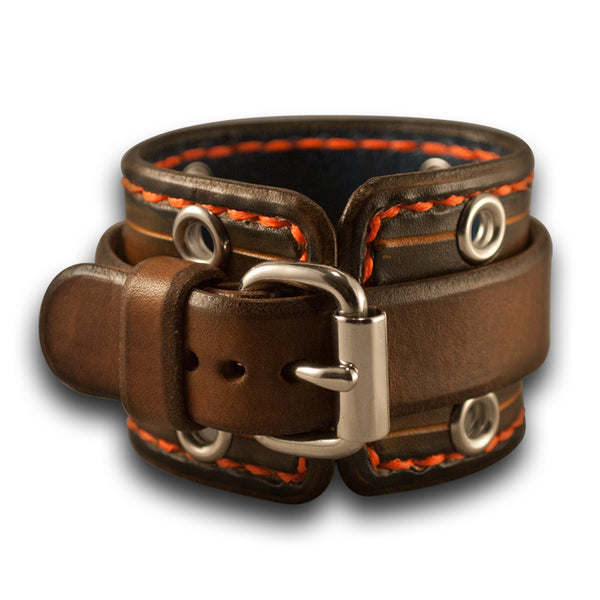 Brown Stressed Leather Cuff Watch Band with Eyelets Orange Stitching