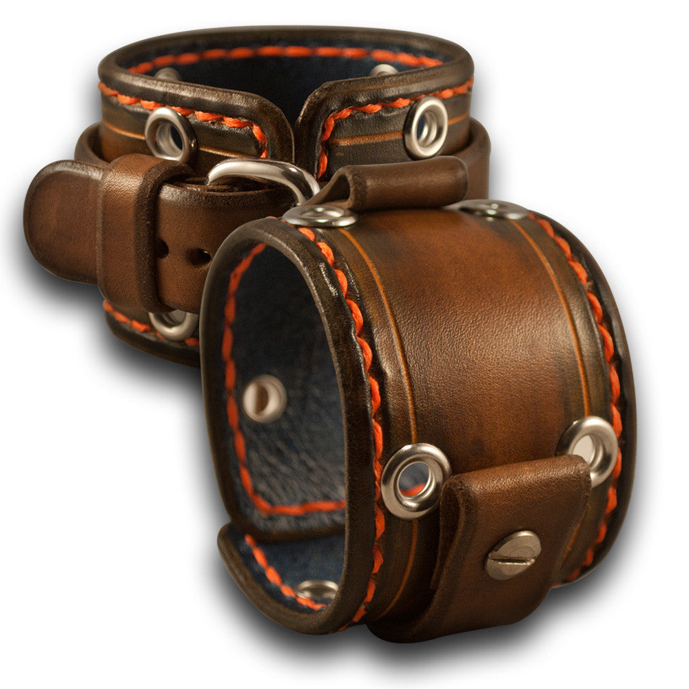 Brown Stressed Leather Cuff Watch Band with Stitching & Eyelets-Custom Handmade Leather Watch Bands-Rockstar Leatherworks™