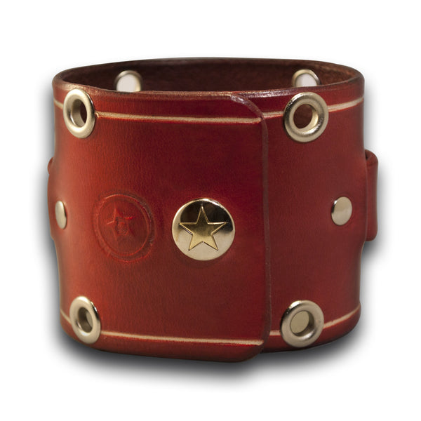 Crimson Red Wide Leather Cuff Watch Band with Eyelets and Snap