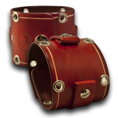 Crimson Red Wide Leather Cuff Watch Band with Eyelets and Snap-Custom Handmade Leather Watch Bands-Rockstar Leatherworks™
