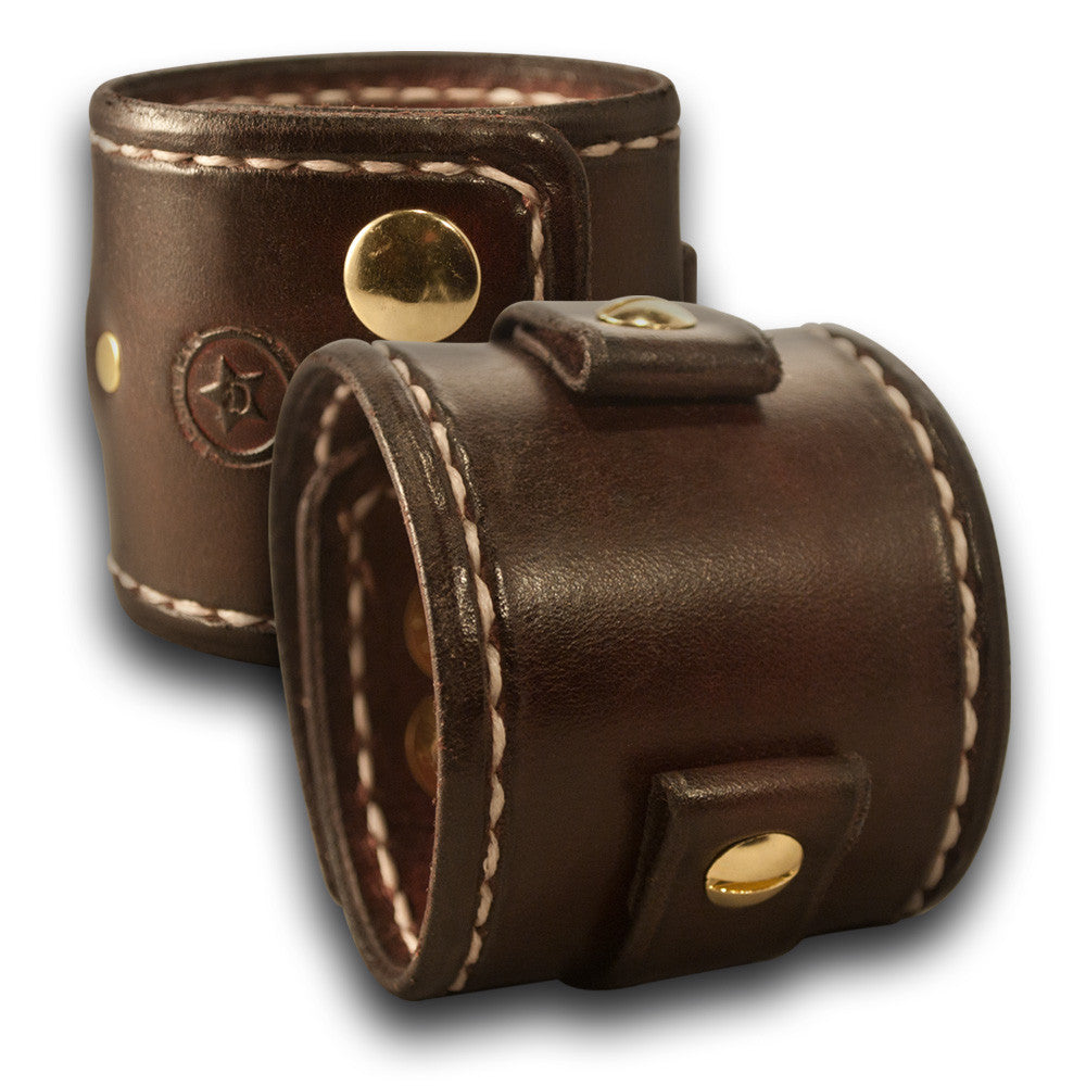 Dark Mahogany Leather Cuff Watch Band with Stitching & Snaps-Custom Handmade Leather Watch Bands-Rockstar Leatherworks™
