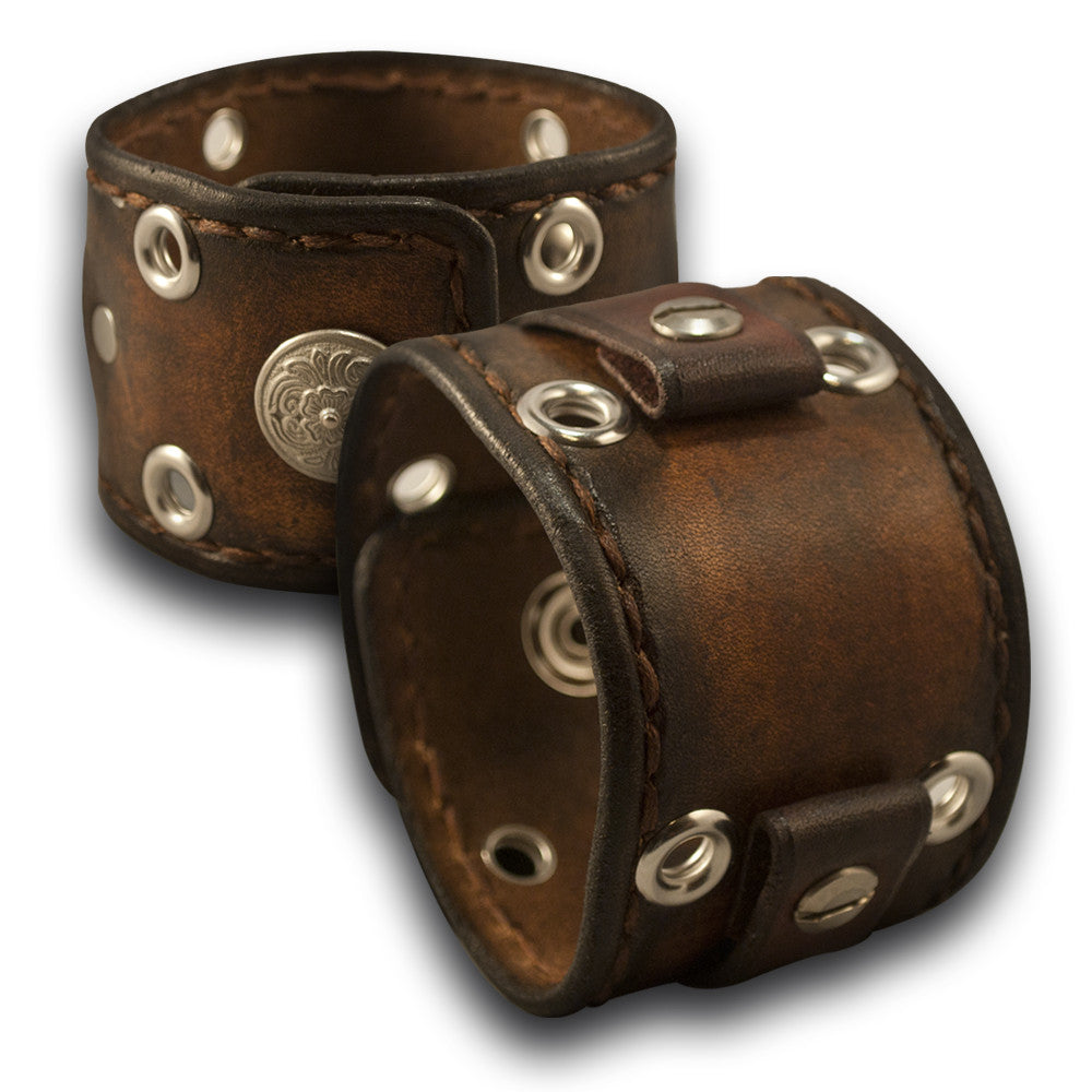 Bison Brown Leather Cuff Watch Band w/ Eyelets, Stitching & Snap-Custom Handmade Leather Watch Bands-Rockstar Leatherworks™