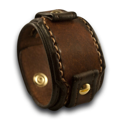 Brown Drake Layered Leather Cuff Watch Band with Brass Snaps-Custom Handmade Leather Watch Bands-Rockstar Leatherworks™