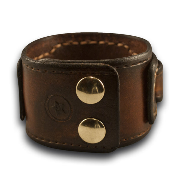 Brown Drake Layered Leather Cuff Watch Band with Brass Snaps