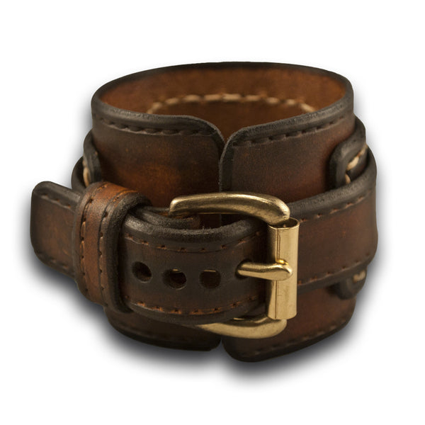 Rockstar Drake Leather Cuff Watch Band in Brown Stressed