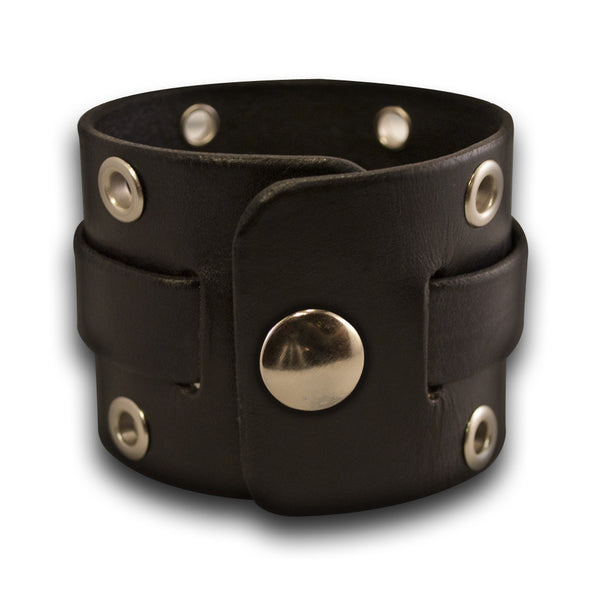 Black Leather Cuff Watch Band with Stainless Eyelets and Snap
