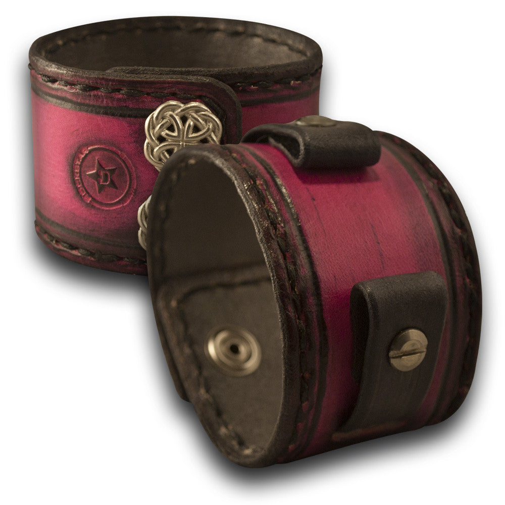 Fuchsia & Black Leather Cuff Watch Band with Stitching & Snaps