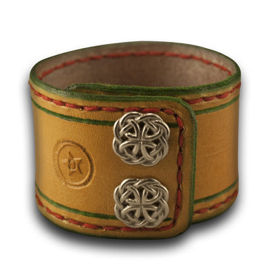 Gold & Silver Leather Cuff Watch Band w/ Stitching & Celtic Snaps-Custom Handmade Leather Watch Bands-Rockstar Leatherworks™