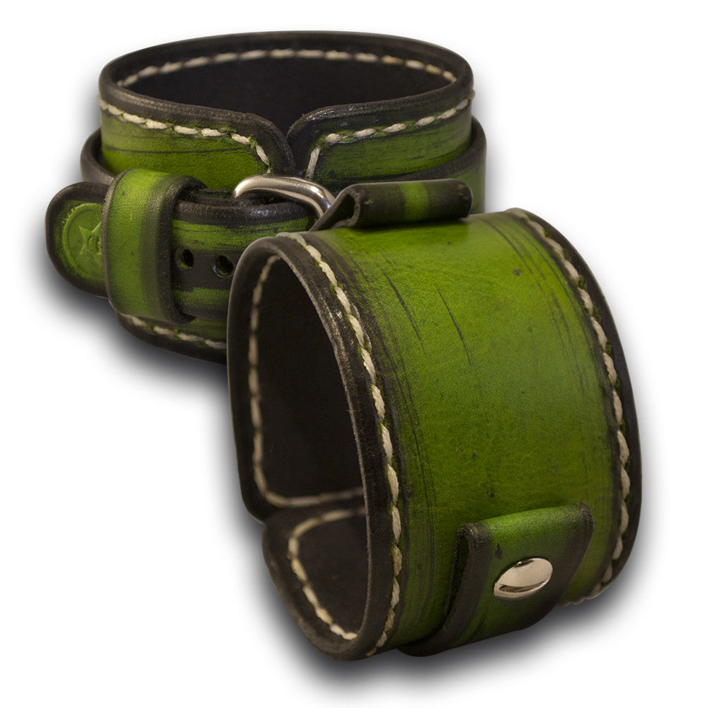 Forest Green Leather Cuff Watch Band with White Stitching