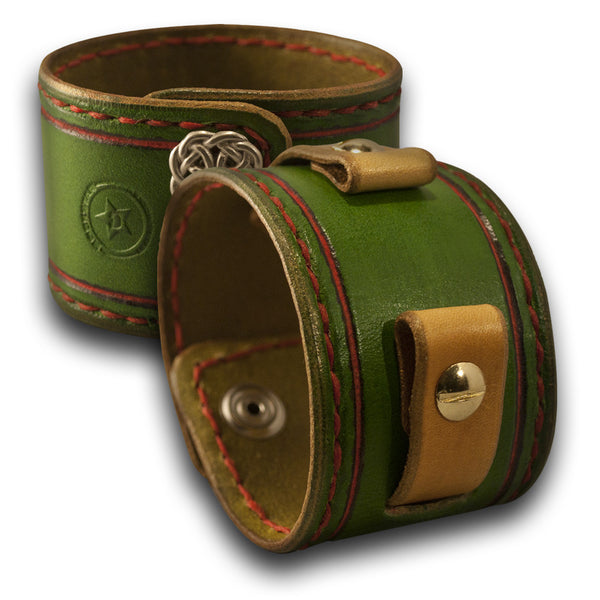 Green & Gold Leather Cuff Watch Band with Red Stitching & Celtic Snaps