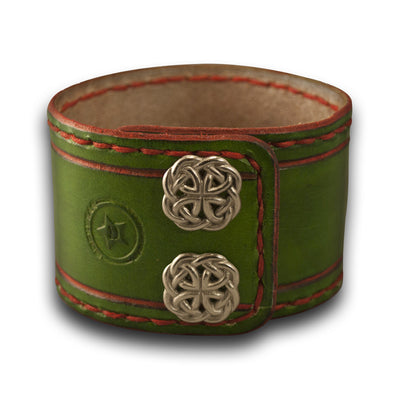Green & Red Leather Cuff Watch Band w Stitching & Celtic Snaps-Custom Handmade Leather Watch Bands-Rockstar Leatherworks™