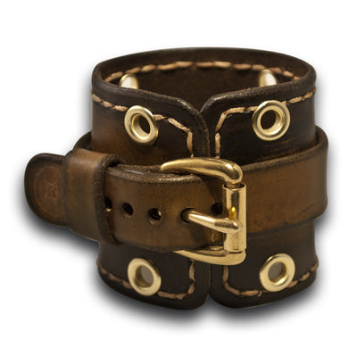 Java Brown Leather Cuff Watch Band with Stitching & Brass Buckle-Custom Handmade Leather Watch Bands-Rockstar Leatherworks™
