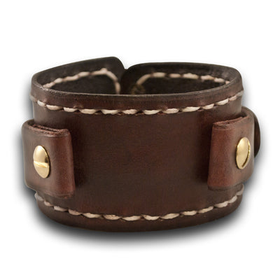 Mahogany Leather Cuff Watch Band w/ Stitching & Brass Buckle-Custom Handmade Leather Watch Bands-Rockstar Leatherworks™