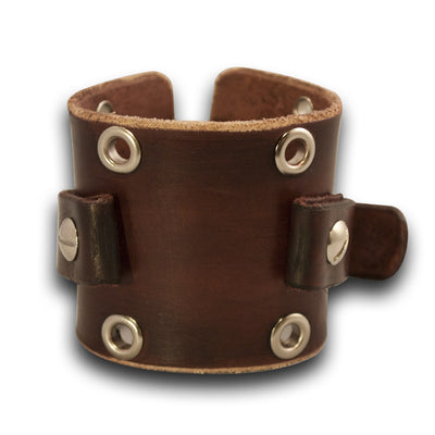 Mahogany Leather Cuff Watch Band with Stainless Eyelets-Custom Handmade Leather Watch Bands-Rockstar Leatherworks™