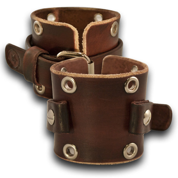 Mahogany Leather Cuff Watch Band with Stainless Eyelets and Raw Edge