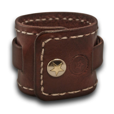 Mahogany Leather Cuff Watch Band with White Stitching & Snap-Custom Handmade Leather Watch Bands-Rockstar Leatherworks™