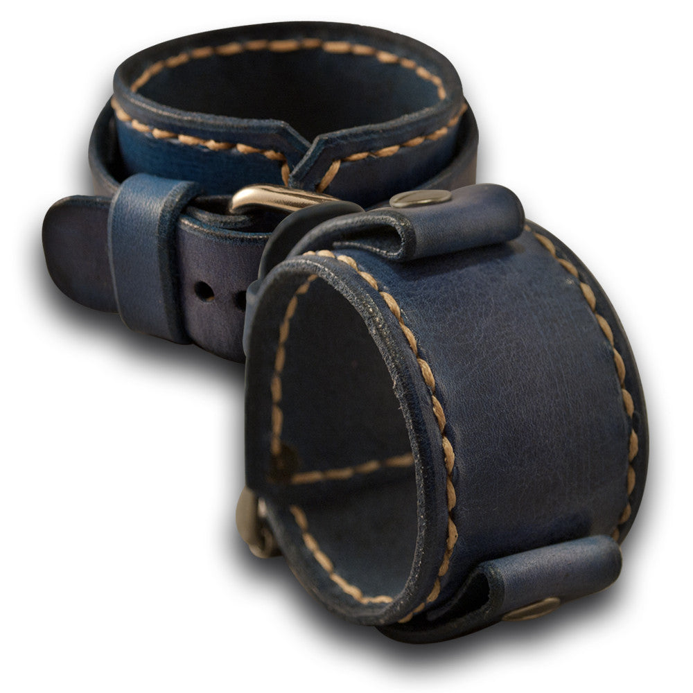 Navy Blue Leather Cuff Watch Band with Beige Stitching-Custom Handmade Leather Watch Bands-Rockstar Leatherworks™