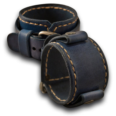 Navy Blue Leather Cuff Watch Band with Beige Stitching