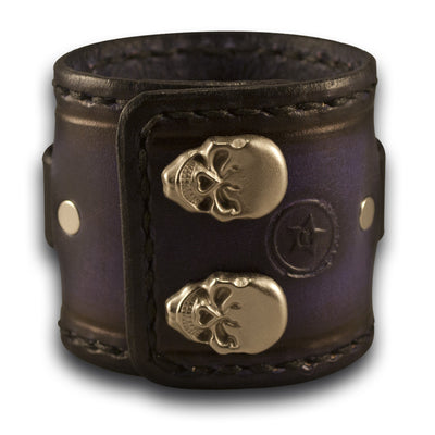 Purple & Black Leather Cuff Watch Band with Stitching & Snaps-Custom Handmade Leather Watch Bands-Rockstar Leatherworks™