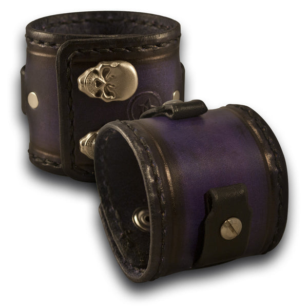 Purple & Black Leather Cuff Watch Band with Stitching & Skull Snaps