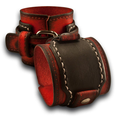 Scarlet & Black Rockstar Drake Layered Leather Cuff Watch Band-Custom Handmade Leather Watch Bands-Rockstar Leatherworks™