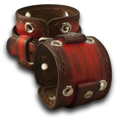 Scarlet Stressed Leather Cuff Watch Band w/ Eyelets & Stitching-Custom Handmade Leather Watch Bands-Rockstar Leatherworks™