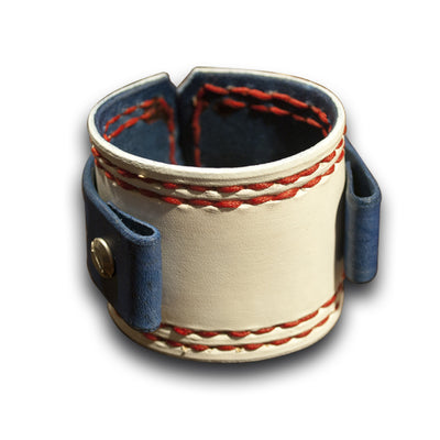 Leather Cuff Watch Band with Embossed Stars & Red Stitching-Custom Handmade Leather Watch Bands-Rockstar Leatherworks™