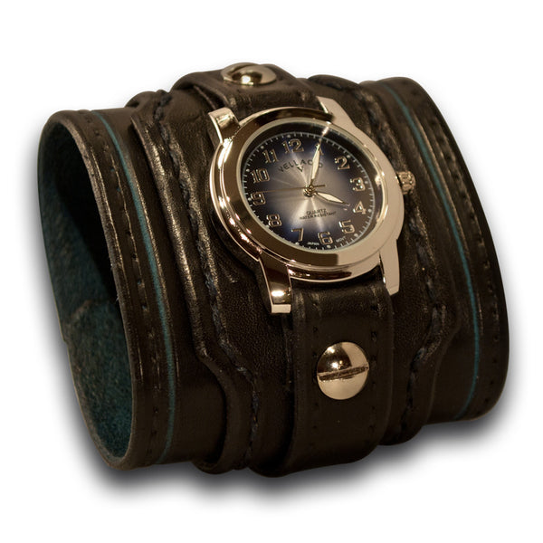 Black & Blue Drake Leather Cuff Watch Layered & Stitched Cuff