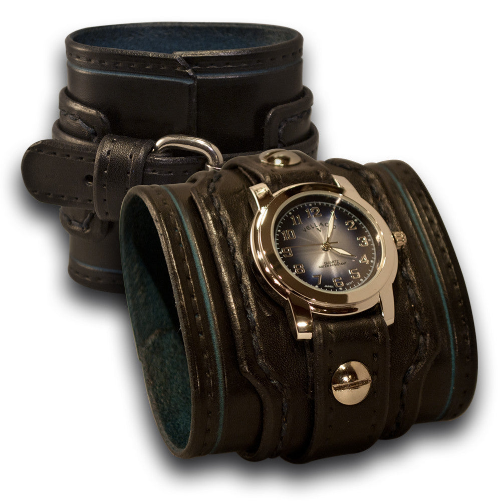 Black & Blue Drake Leather Cuff Watch Layered & Stitched Cuff-Leather Cuff Watches-Rockstar Leatherworks™