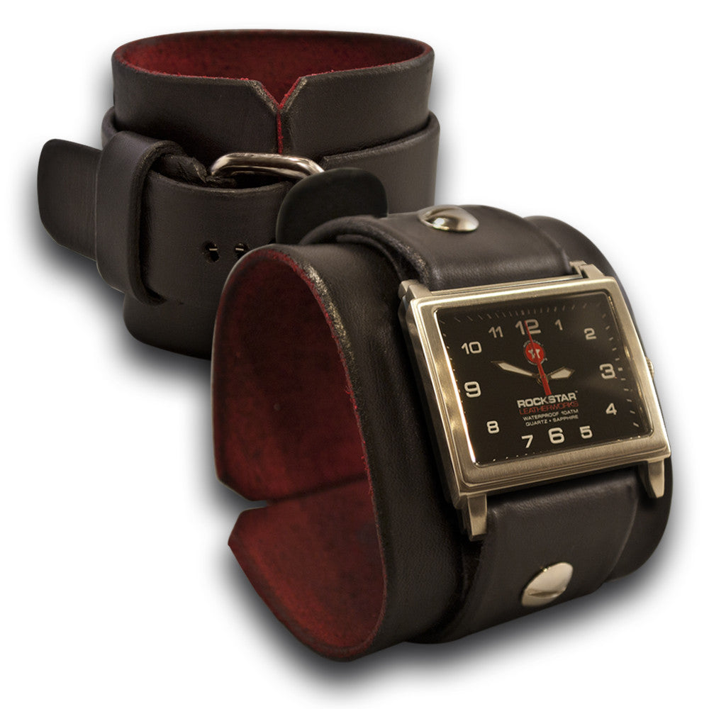 Black Rockstar Leather Cuff Watch - Stainless, Sapphire, 10ATM-Leather Cuff Watches-Rockstar Leatherworks™