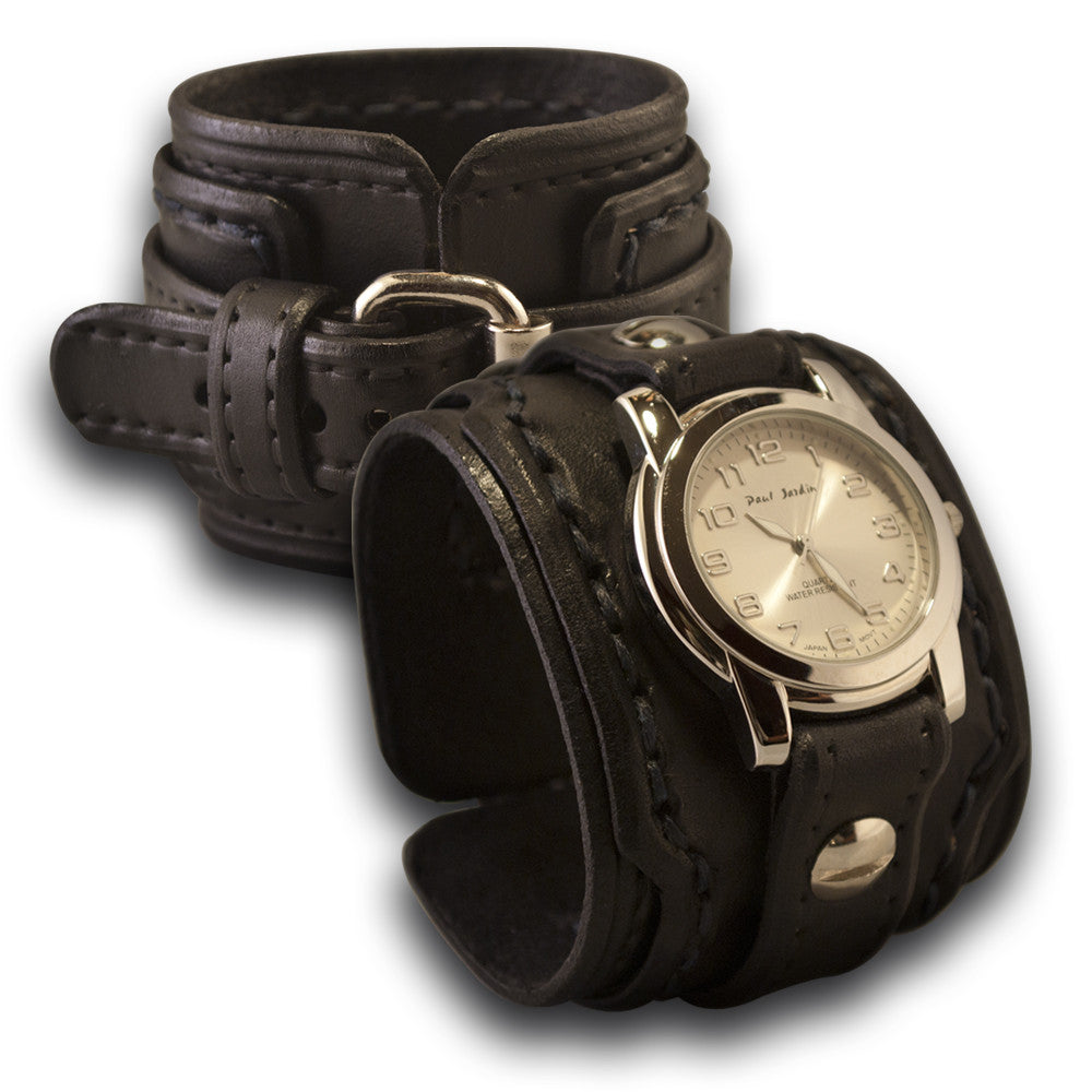 Black Rockstar Drake Leather Cuff Watch Stitched & Layered Cuff-Leather Cuff Watches-Rockstar Leatherworks™