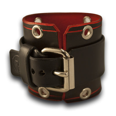 Rockstar Black & Red Leather Cuff Watch with Stainless Eyelets-Leather Cuff Watches-Rockstar Leatherworks™