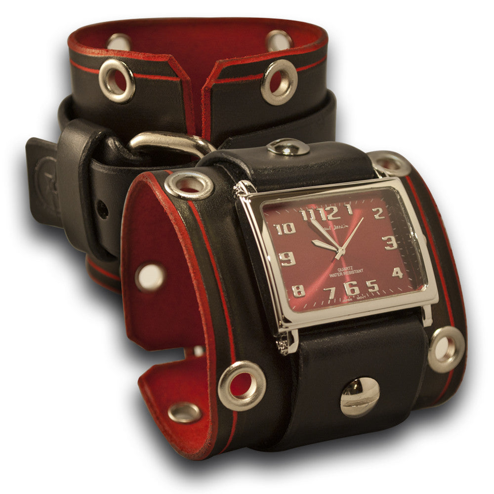 Rockstar Black & Red Leather Cuff Watch with Stainless Eyelets