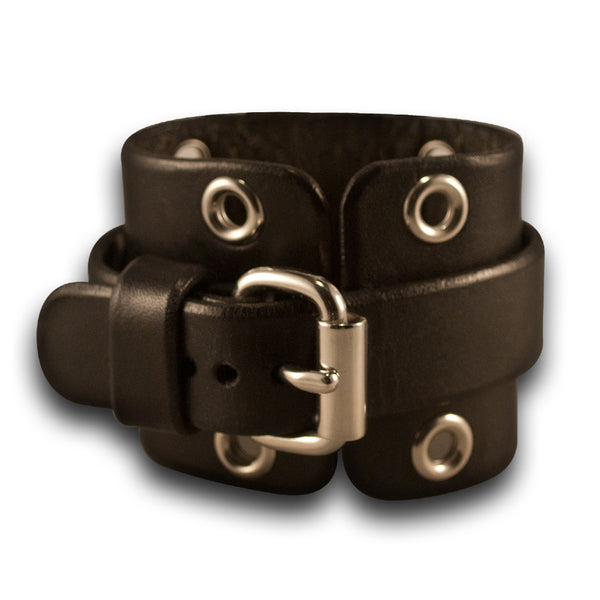 Wide Black Leather Cuff Watch with Stainless Steel Eyelets & Buckle