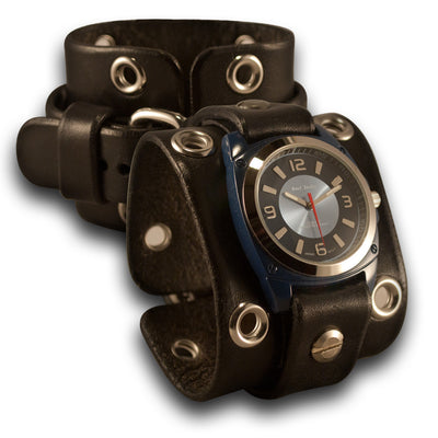 Wide Black Leather Cuff Watch with Stainless Eyelets & Buckle-Leather Cuff Watches-Rockstar Leatherworks™