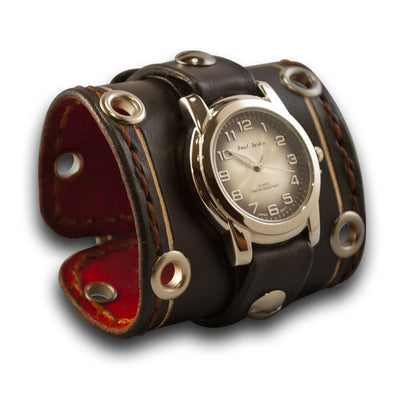 Wide Black Leather Cuff Watch with Stainless Eyelets & Stitching-Leather Cuff Watches-Rockstar Leatherworks™