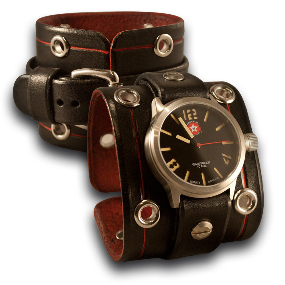 Black Rockstar Leather Cuff Watch - Stainless 42mm, Sapphire-Leather Cuff Watches-Rockstar Leatherworks™