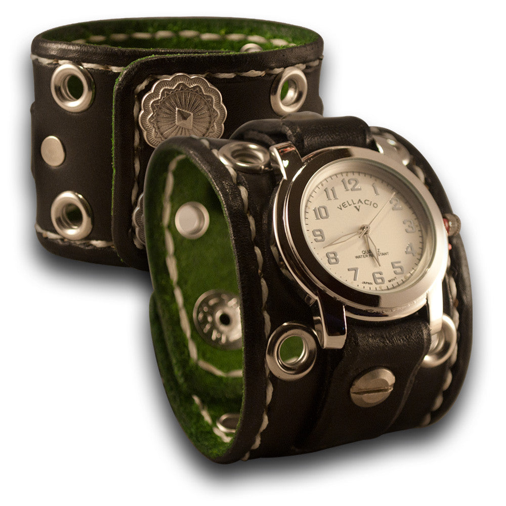 Black Rockstar Leather Cuff Watch w/ Stitching, Eyelets & Snaps