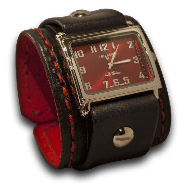 Black Rockstar Leather Cuff Watch with Red Hand Stitching