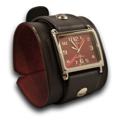 Black Wide Leather Cuff Watch with Red Watch Face & Stainless Buckle
