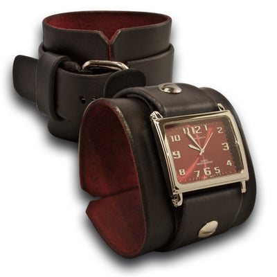 Black Leather Cuff Watch with Red Watch Face & Stainless Buckle-Leather Cuff Watches-Rockstar Leatherworks™
