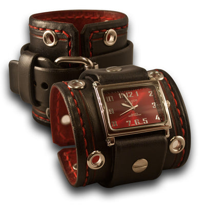 Black & Red Leather Cuff Watch with Stitching, Eyelets & Etching-Leather Cuff Watches-Rockstar Leatherworks™