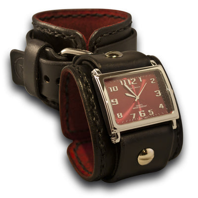 Black Leather Cuff Watch with Red Watch Face & Black Stitching-Leather Cuff Watches-Rockstar Leatherworks™