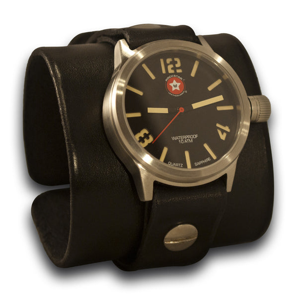 Black Rockstar Boss Leather Cuff Watch - Stainless, Sapphire, 10ATM