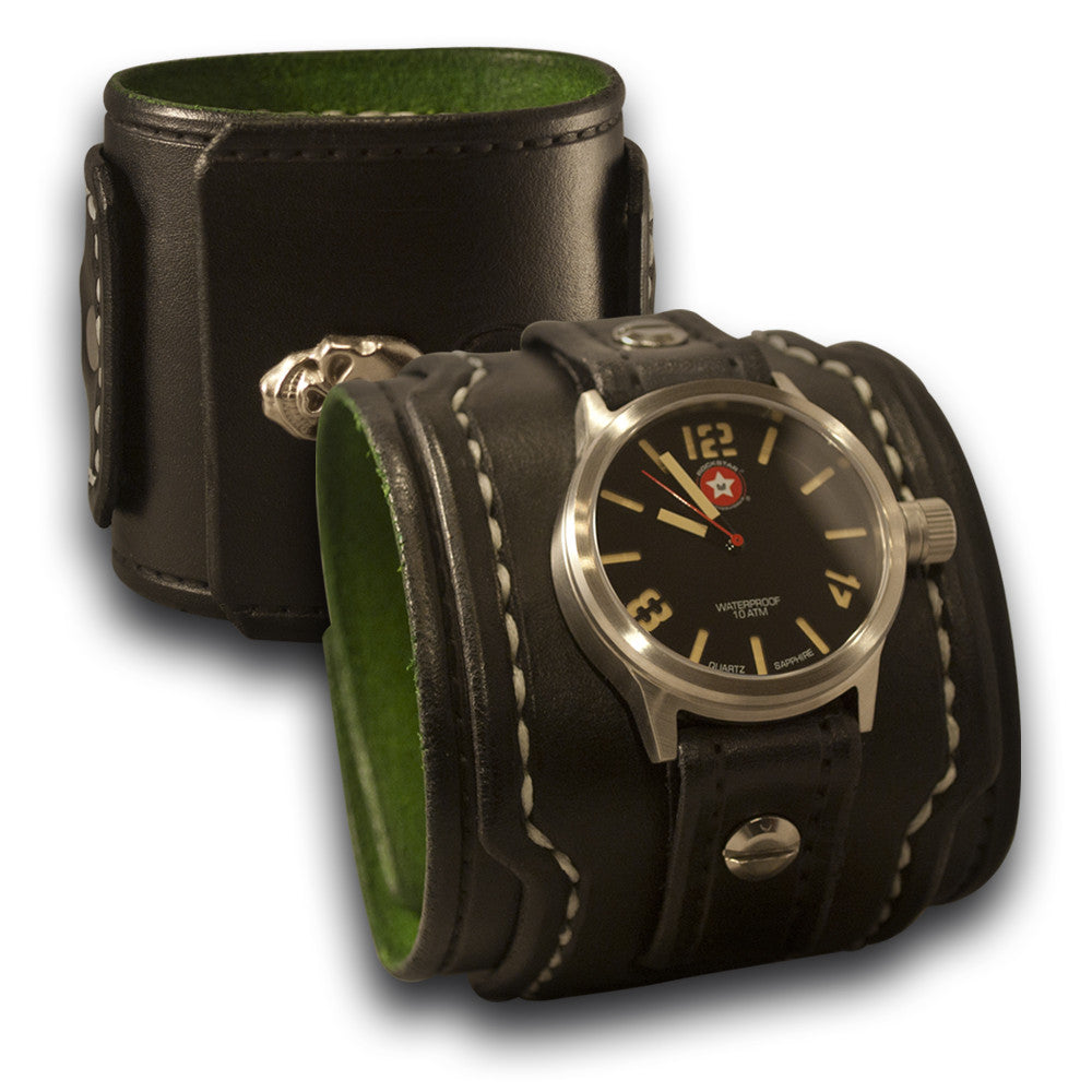 Black Drake Leather Cuff Watch w/ 42mm Stainless & Skull Snap-Leather Cuff Watches-Rockstar Leatherworks™