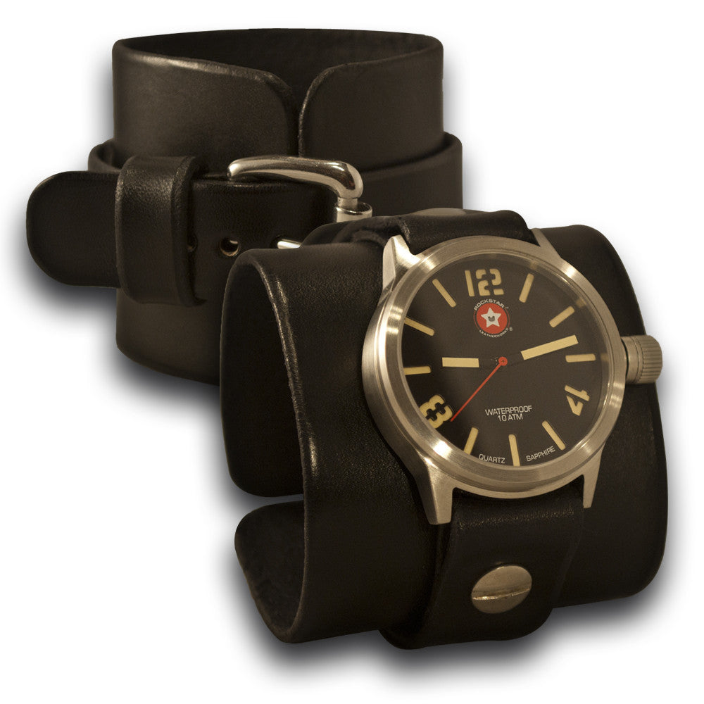 Black Leather Cuff Watch - Stainless 42mm, Sapphire, 10ATM-Leather Cuff Watches-Rockstar Leatherworks™