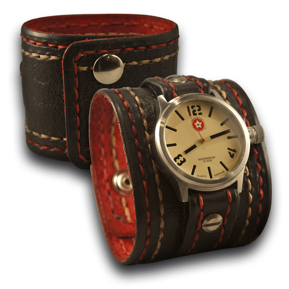 Black Leather Cuff Watch Stitched 42mm Stainless Sapphire 10 ATM-Leather Cuff Watches-Rockstar Leatherworks™